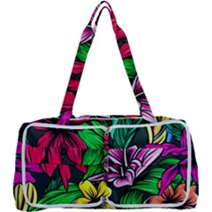 Neon Hibiscus Multi Function Bag