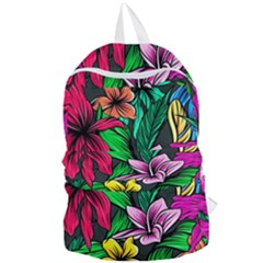 Neon Hibiscus Foldable Lightweight Backpack