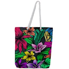 Neon Hibiscus Full Print Rope Handle Tote (large)