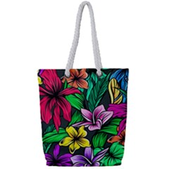 Neon Hibiscus Full Print Rope Handle Tote (small)