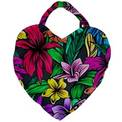 Neon Hibiscus Giant Heart Shaped Tote