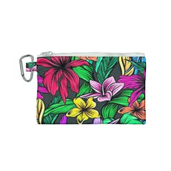 Neon Hibiscus Canvas Cosmetic Bag (small)
