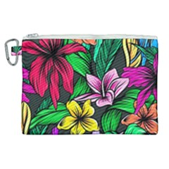 Neon Hibiscus Canvas Cosmetic Bag (xl)