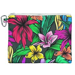 Neon Hibiscus Canvas Cosmetic Bag (xxl)