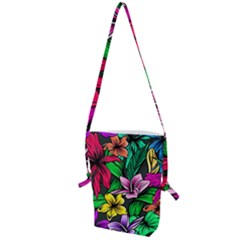 Neon Hibiscus Folding Shoulder Bag