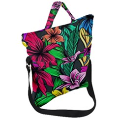 Neon Hibiscus Fold Over Handle Tote Bag