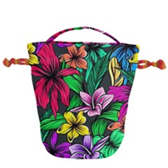 Neon Hibiscus Drawstring Bucket Bag