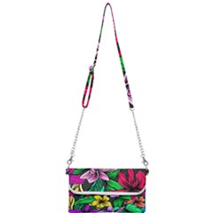 Neon Hibiscus Mini Crossbody Handbag