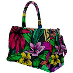 Neon Hibiscus Duffel Travel Bag