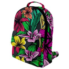 Neon Hibiscus Flap Pocket Backpack (small)