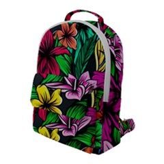 Neon Hibiscus Flap Pocket Backpack (large)