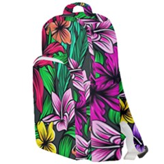 Neon Hibiscus Double Compartment Backpack