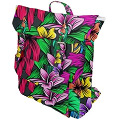 Neon Hibiscus Buckle Up Backpack
