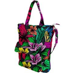 Neon Hibiscus Shoulder Tote Bag