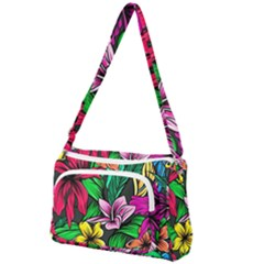 Neon Hibiscus Front Pocket Crossbody Bag