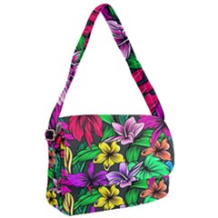 Neon Hibiscus Courier Bag