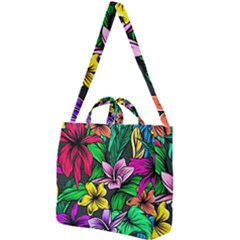 Neon Hibiscus Square Shoulder Tote Bag