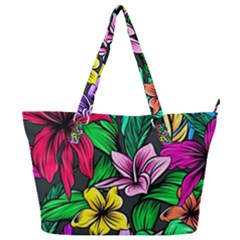Neon Hibiscus Full Print Shoulder Bag