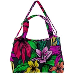 Neon Hibiscus Double Compartment Shoulder Bag
