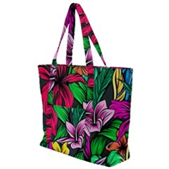 Neon Hibiscus Zip Up Canvas Bag