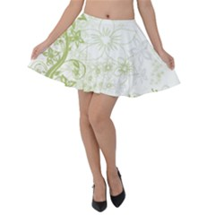 Flowers Curlicue Kringel Background Velvet Skater Skirt