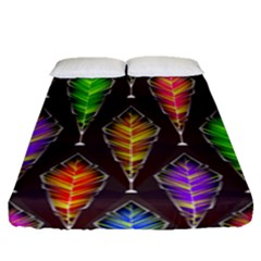 Abstract Background Colorful Leaves Purple Fitted Sheet (queen Size) by Alisyart