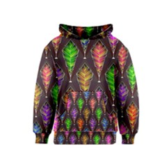 Abstract Background Colorful Leaves Purple Kids  Pullover Hoodie by Alisyart
