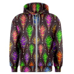 Abstract Background Colorful Leaves Purple Men s Zipper Hoodie