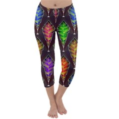 Abstract Background Colorful Leaves Purple Capri Winter Leggings