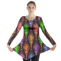 Abstract Background Colorful Leaves Purple Long Sleeve Tunic  by Alisyart