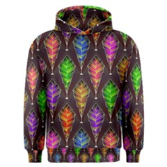 Abstract Background Colorful Leaves Purple Men s Overhead Hoodie