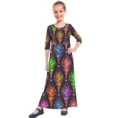Abstract Background Colorful Leaves Purple Kids  Quarter Sleeve Maxi Dress