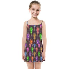 Abstract Background Colorful Leaves Purple Kids  Summer Sun Dress by Alisyart