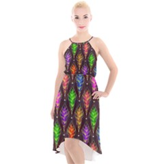 Abstract Background Colorful Leaves Purple High Low Halter Chiffon Dress