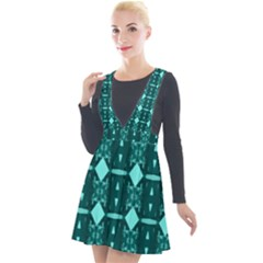 Background Plaid Plunge Pinafore Velour Dress