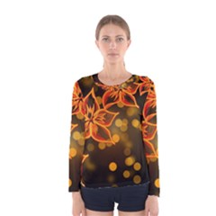 Flowers Background Bokeh Leaf Women s Long Sleeve Tee by Mariart