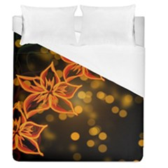 Flowers Background Bokeh Leaf Duvet Cover (queen Size) by Mariart