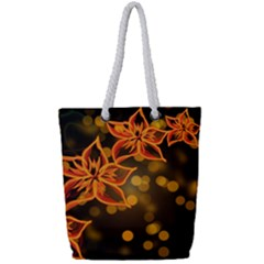 Flowers Background Bokeh Leaf Full Print Rope Handle Tote (small)