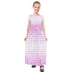 Square Pink Pattern Decoration Kids  Short Sleeve Maxi Dress by Desi8477