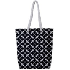 Black And White Fantasy Full Print Rope Handle Tote (small)