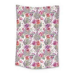 Flowers Geometric Pattern Small Tapestry by goljakoff