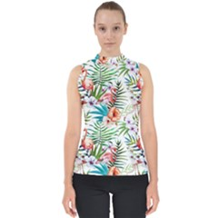 Rose Flamingo Pattern Mock Neck Shell Top by goljakoff