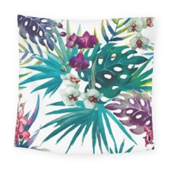 Tropical Flowers Square Tapestry (large) by goljakoff