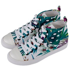 Tropical Flowers Women s Mid Top Canvas Sneakers by goljakoff