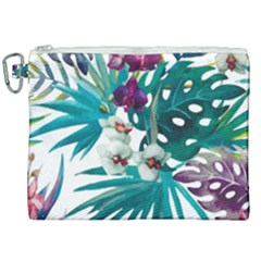 Tropical Flowers Canvas Cosmetic Bag (xxl) by goljakoff