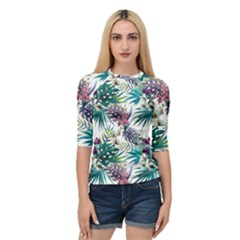 Tropical Flowers Pattern Quarter Sleeve Raglan Tee by goljakoff