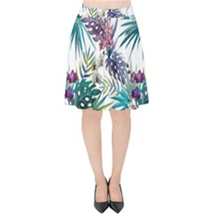 Tropical Flowers Pattern Velvet High Waist Skirt by goljakoff