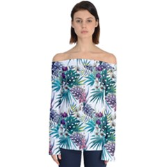 Tropical Flowers Pattern Off Shoulder Long Sleeve Top by goljakoff