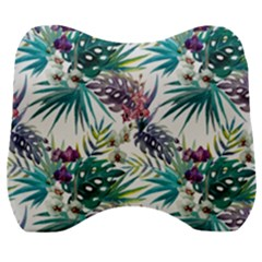Tropical Flowers Pattern Velour Head Support Cushion by goljakoff