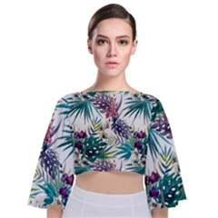 Tropical Flowers Pattern Tie Back Butterfly Sleeve Chiffon Top by goljakoff